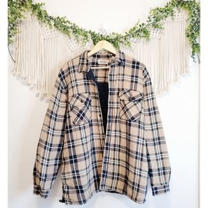 Vintage Cotton Plaid Checkered Button Down Lined Long Sleeve Flannel Shacket XL